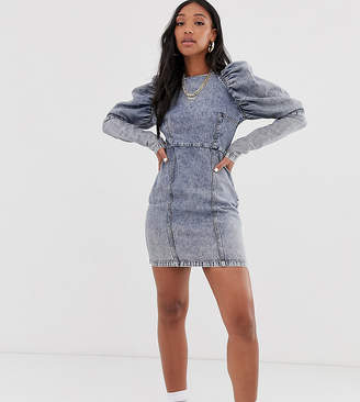 Reclaimed Vintage inspired denim dress with puff sleeve