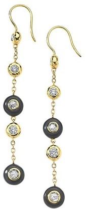 Ippolita 18K Yellow Gold, Diamond & Black Ceramic Drop Earrings.