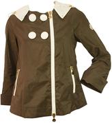 Moncler Estrel Brown White Rain Coat Hooded Jacket Retro Style Sz