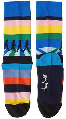 Happy Socks Beatles Legend Crossing Sock (Light Blue/Multi) Women's Crew Cut Socks Shoes