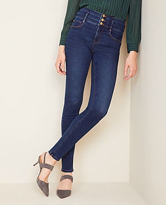 Ann Taylor Petite Sculpting Pockets High Rise Skinny Jeans in Classic Indigo Wash