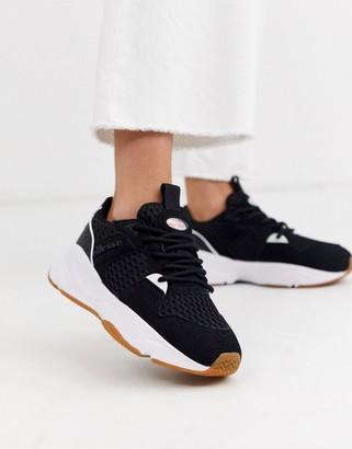 Ellesse aspio leather chunky sneakers in black