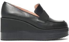 Jil Sander Navy Leather Platform Loafers