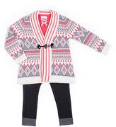 Little Lass Pink Fair Isle Sweater Set - Infant Toddler & Girls
