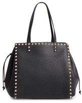 Valentino Garavani Rockstud Double Handle Leather Drawstring Tote - Black
