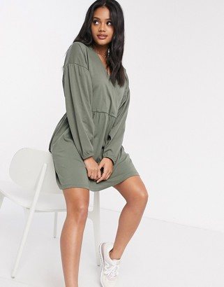 ASOS DESIGN wrap front long sleeve smock dress in khaki