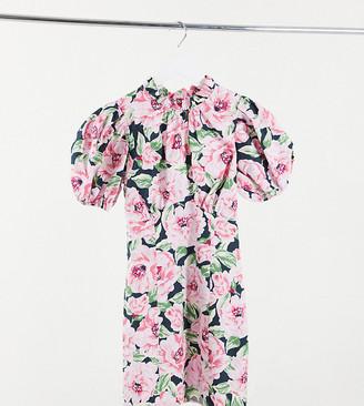 Miss Selfridge Petite poplin dress in floral blooms