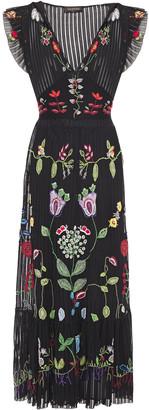 Valentino Belted Gathered Embroidered Silk Midi Dress