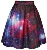ABCHIC Women's Versatile Galaxy Flared Pleated Skater Skirt Knee Length Red