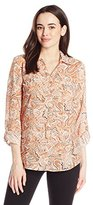 Notations Women's Allover Printed Long Sleeve Windowpane Blouse