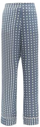 Asceno - Polka-dot Sandwashed Silk Pyjama Trousers - Womens - Blue Multi