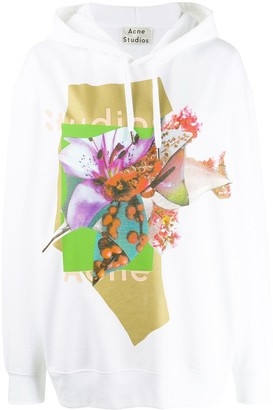 Acne Studios Logo And Floral Print Hooded Sweater