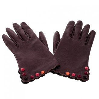 Fendi Burgundy Leather Gloves