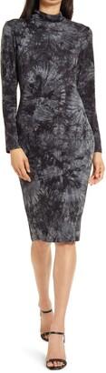 Fraiche by J Tie Dye Long Sleeve Body-Con Dress
