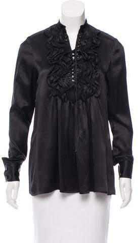 Givenchy Silk Lace-Up Blouse