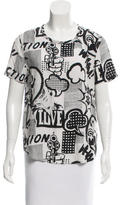 Equipment Comic Print Silk Top