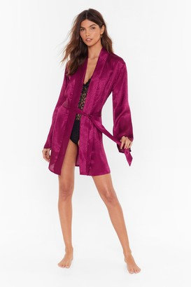 Nasty Gal Womens In For the Night Satin Jacquard dressing gown - Purple - 14