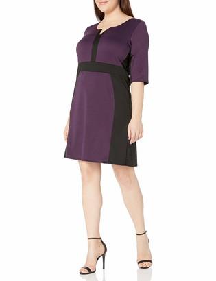 Star Vixen Women's Plus-Size Elbow Sleeve Colorblock Fit N Flare Dress