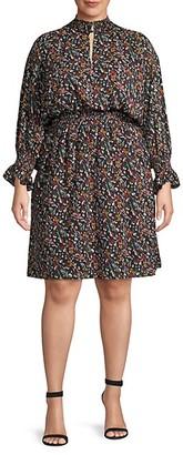 Rachel Roy Plus Floral-Print Blouson Dress