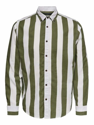 ONLY & SONS Men's ONSARIF LS Bold Stripe Twill Shirt NOOS Casual