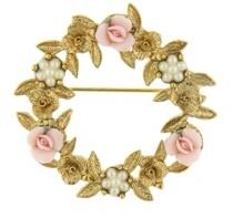2028 Gold-Tone Pink Porcelain Rose Wreath Brooch