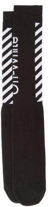 Off-White Off White Diagonal Stripe Cotton Blend Socks - Mens - Black