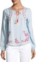 Neiman Marcus Embroidered Chambray Peasant Blouse, Medium Blue