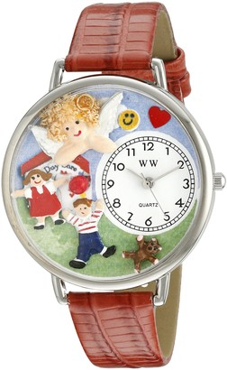 Whimsical Watches Day Care Teacher Red Leather and Silvertone Unisex Quartz Watch with White Dial Analogue Display and Multicolour Leather Strap U-0630015