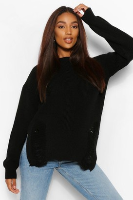 boohoo Maternity Distressed Side Split Sweater