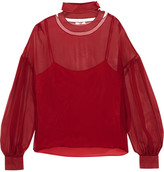 Fendi Cutout Silk-georgette Blouse - Red