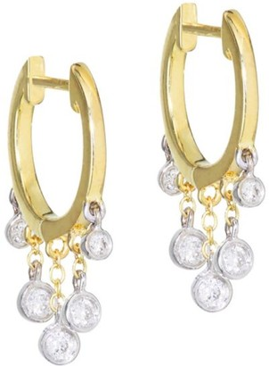 Meira T 14K Yellow Gold & Diamond Drop Hoop Earrings