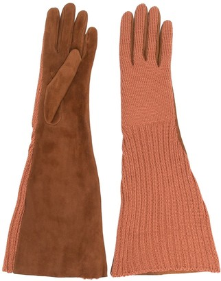 Missoni Mixed-Fabric Long Gloves