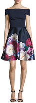 Ted Baker Nersi Blushing Bouquet Floral-Print Off-the-Shoulder Bardot Dress, Navy
