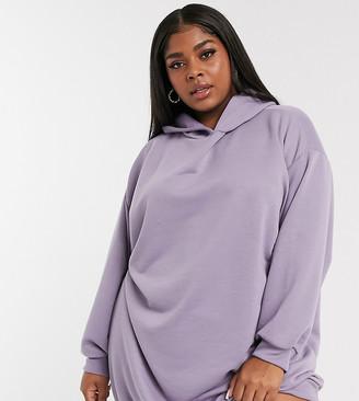 ASOS DESIGN Curve mini sweatshirt hoodie dress in purple ash