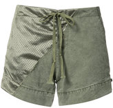 Greg Lauren panelled satin and cotton shorts