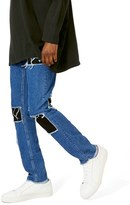Topman Men's Aaa Collection Destroyed Patchwork Skinny Jeans