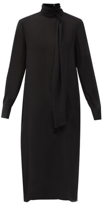 Another Tomorrow - Tie-neck Crepe Midi Dress - Black