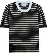 Prada Striped Cotton, Cashmere And Silk-blend Sweater - Black