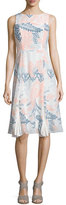 Shoshanna Sleeveless Paisley-Print Boat-Neck Dress, Apricot/Multi
