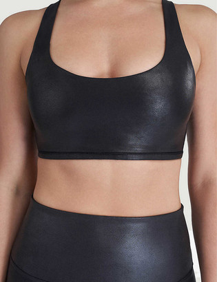 Spanx Active Low-impact faux-leather sports bra