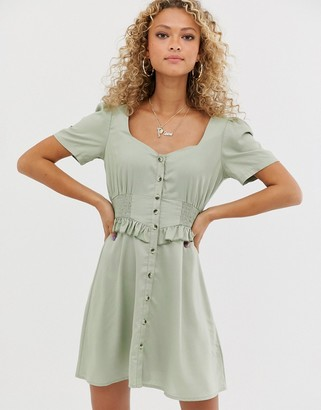 ASOS DESIGN button through mini dress with shirred waist