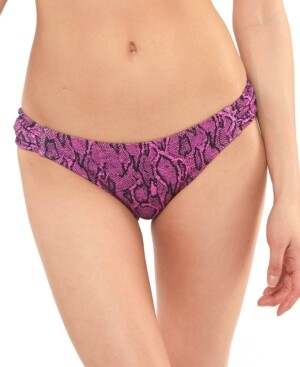 Jessica Simpson Snakecharmer Ruched-Tab Hipster Bikini Bottoms Women's Swimsuit