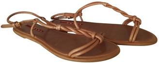 Prada Camel Leather Sandals