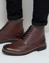 Frank Wright Brogue Boots In Burgundy Leather