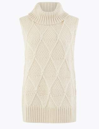 Marks and Spencer Sleeveless Cable Roll Neck Jumper