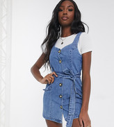 Asos DESIGN Tall denim button pinafore mini dress in blue