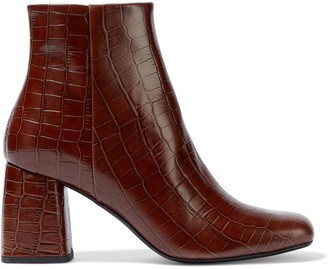 Iris & Ink Genivieve Croc-effect Leather Ankle Boots