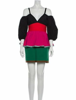 Isa Arfen Colorblock Pattern Mini Dress w/ Tags Black