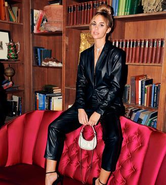 Asos Design DESIGN leather look suit blazer in black