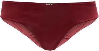 I.D. Sarrieri Crystal-embellished Satin And Stretch-tulle Low-rise Briefs